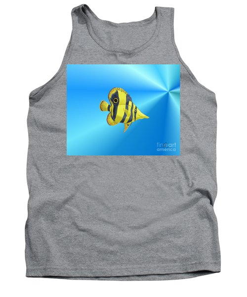 Tank Top featuring the digital art Butterfly Fish by Chris Thomas