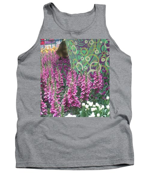 Tank Top featuring the photograph Butterfly Garden Purple White Flowers Painted Wall by Navin Joshi