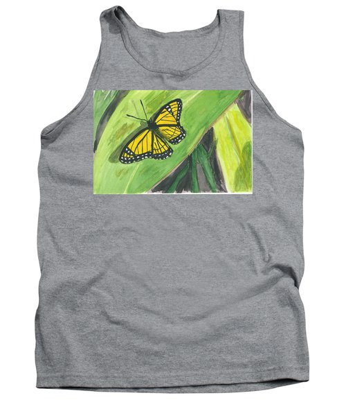 Tank Top featuring the painting Butterfly In Vermont Corn Field by Donna Walsh