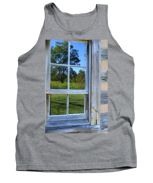 Tank Top featuring the photograph Cabin Reflections by Larry Bishop