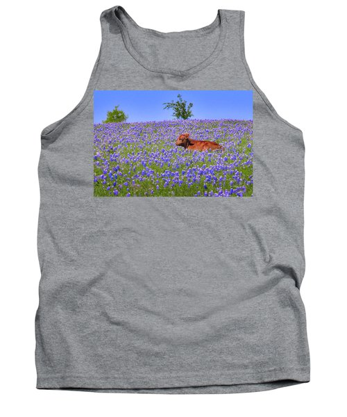 Tank Top featuring the photograph Calf Nestled In Bluebonnets - Texas Wildflowers Landscape Cow by Jon Holiday
