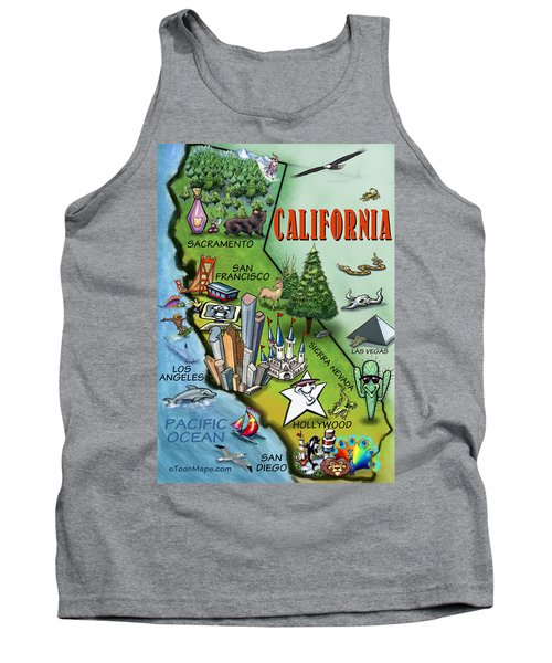 Tank Top featuring the digital art California Cartoon Map by Kevin Middleton