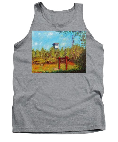 Tank Top featuring the painting Camel Top Fire Tower by Jason Williamson