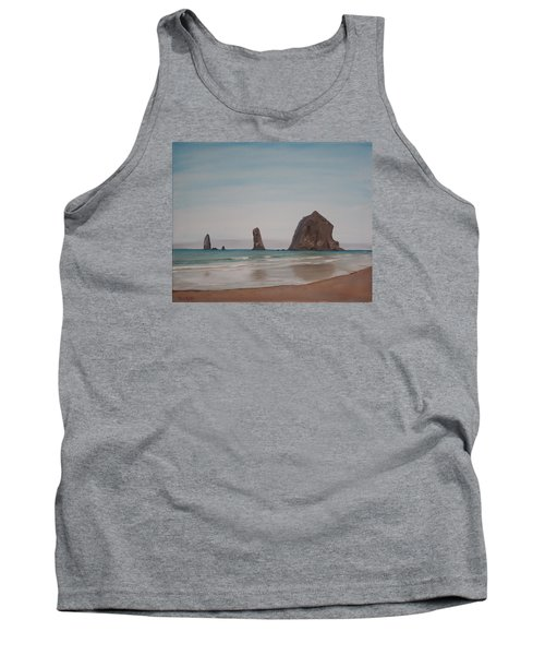 Cannon Beach Haystack Rock Tank Top by Ian Donley