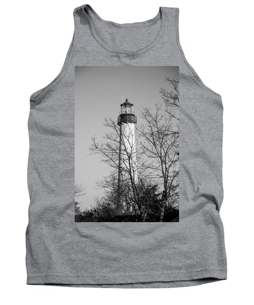 Tank Top featuring the photograph Cape May Light B/w by Jennifer Ancker