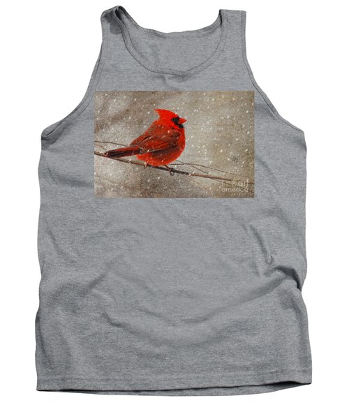 Cardinal In Snow Tank Top by Lois Bryan