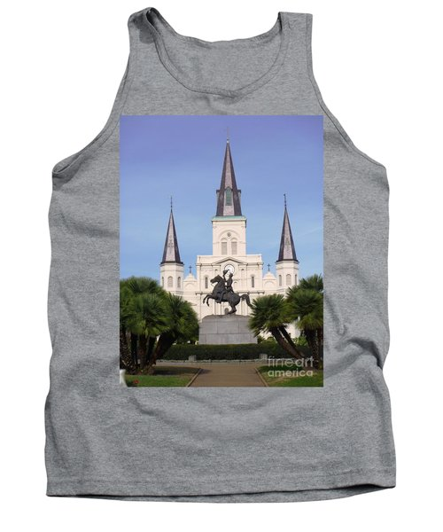 Tank Top featuring the photograph Cathedral In Jackson Square by Alys Caviness-Gober