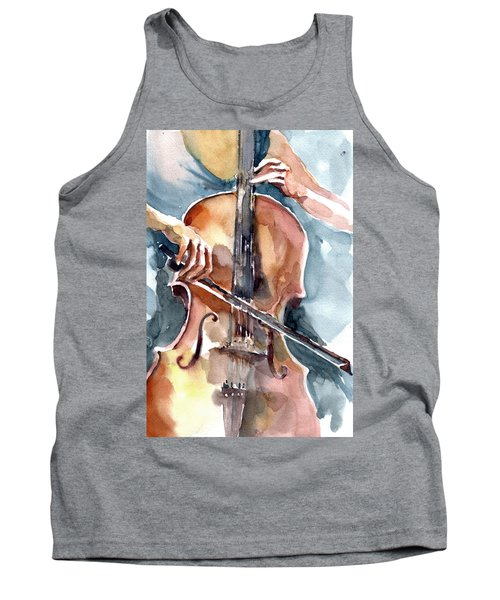 Tank Top featuring the painting Cellist by Faruk Koksal