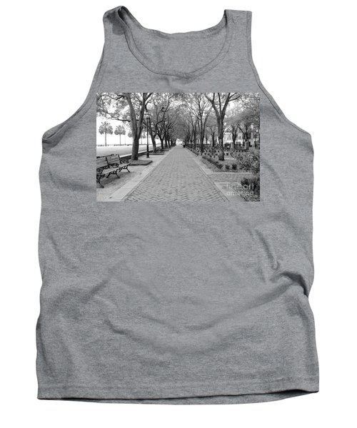 Charleston Waterfront Park Walkway - Black And White Tank Top