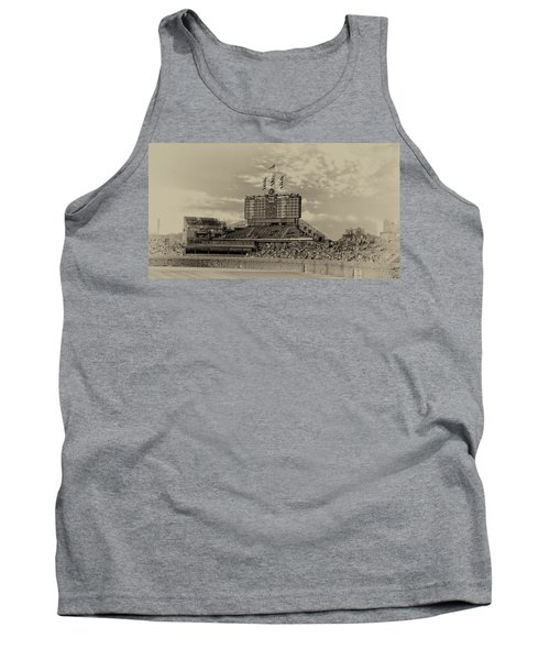 Chicago Cubs Scoreboard In Heirloom Finish Tank Top by Thomas Woolworth