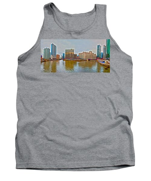 Tank Top featuring the photograph Chicago Skyline And Streets by Alex Grichenko