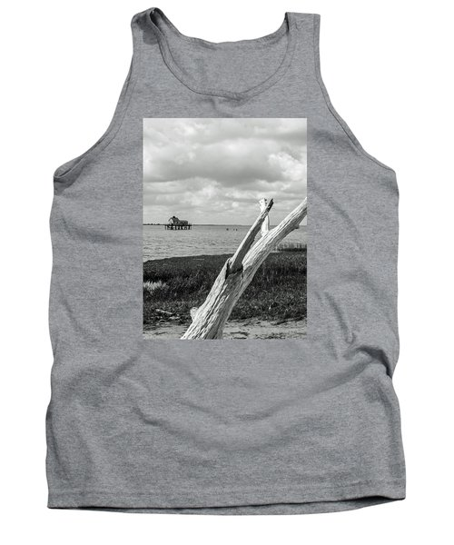Chincoteague Oystershack Bw Vertical Tank Top by Photographic Arts And Design Studio