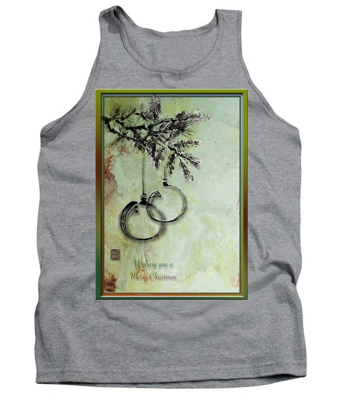 Tank Top featuring the painting Christmas Greeting Card With Ink Brush Drawing by Peter v Quenter