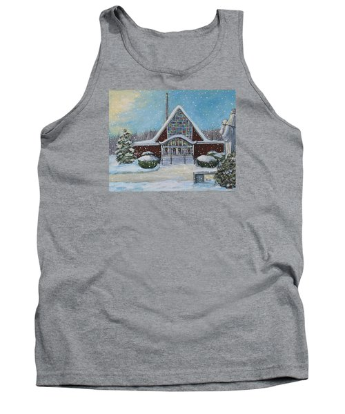 Tank Top featuring the painting Christmas Morning At Our Lady's Church by Rita Brown