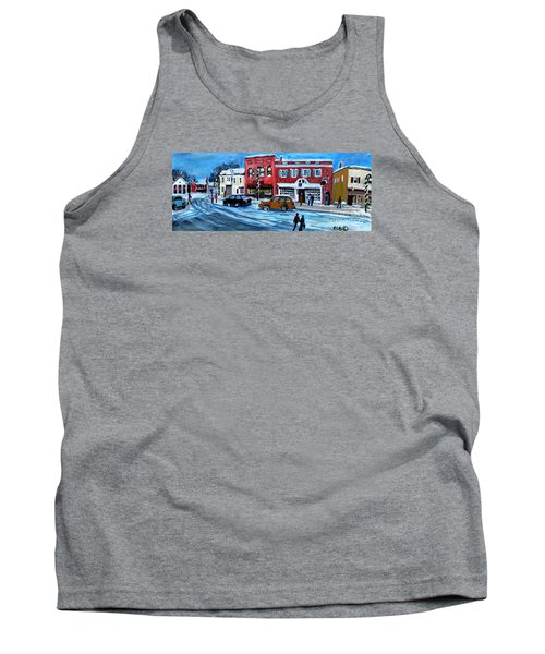 Tank Top featuring the painting Christmas Shopping In Concord Center by Rita Brown