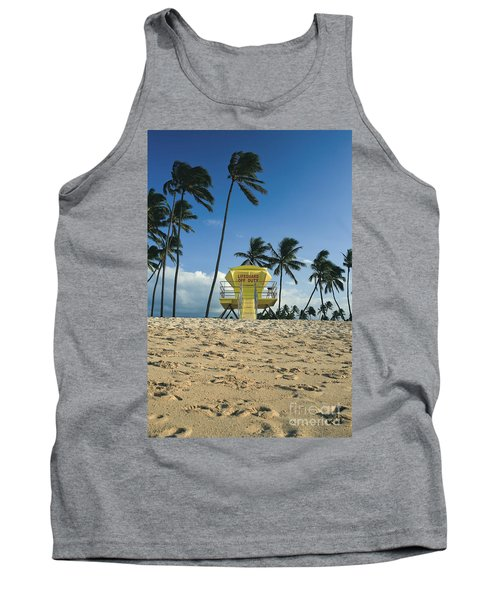 Closed Lifeguard Shack On A Deserted Tropical Beach With Palm Tr Tank Top