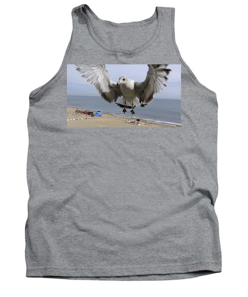 Closeup Of Hovering Seagull Tank Top