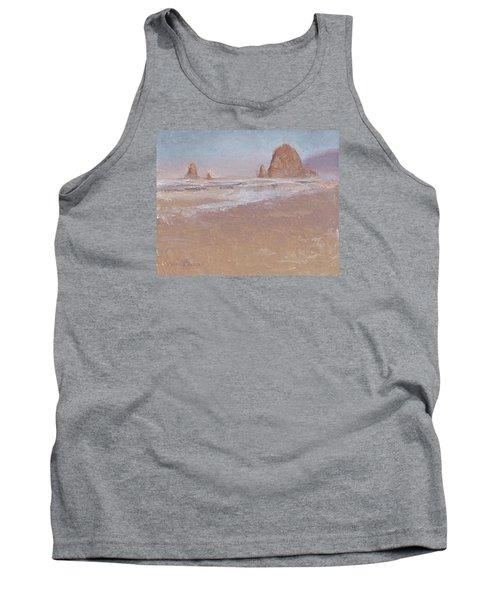 Coastal Escape  Cannon Beach Oregon And Haystack Rock  Tank Top by Karen Whitworth