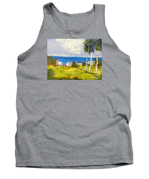 Tank Top featuring the painting Coastal Fishing Village by Pamela  Meredith