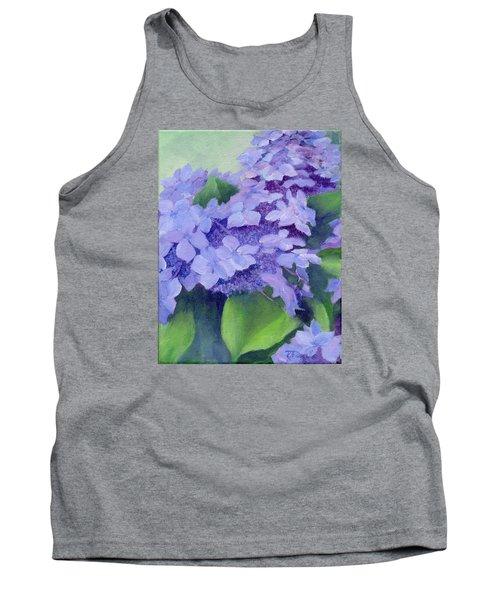 Colorful Hydrangeas Original Purple Floral Art Painting Garden Flower Floral Artist K. Joann Russell Tank Top by Elizabeth Sawyer