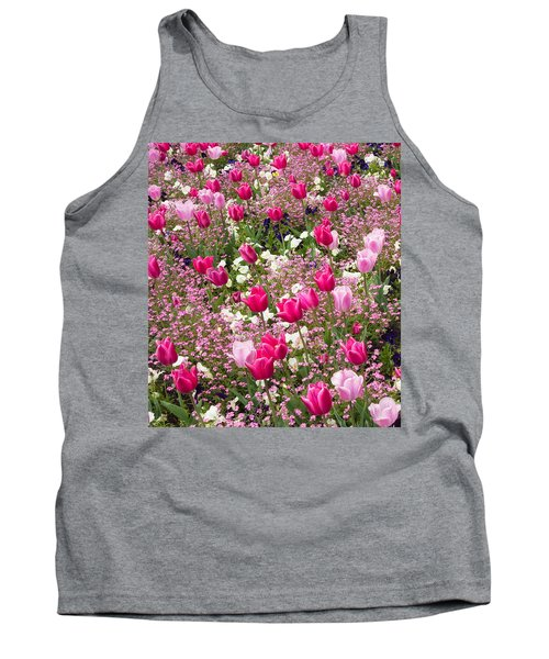 Colorful Pink Tulips And Other Flowers In Spring Tank Top by Matthias Hauser
