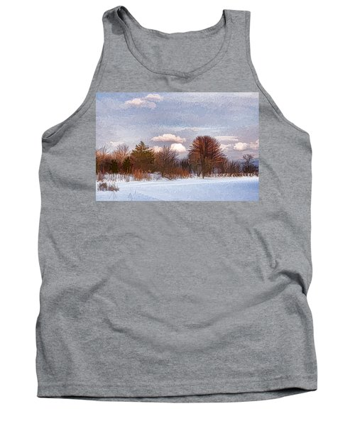 Colorful Winter Morning On The Lake Tank Top