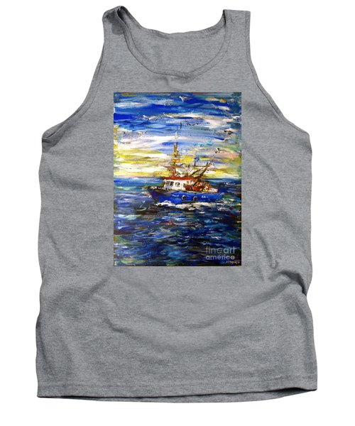 Tank Top featuring the painting Coming Back by Arturas Slapsys