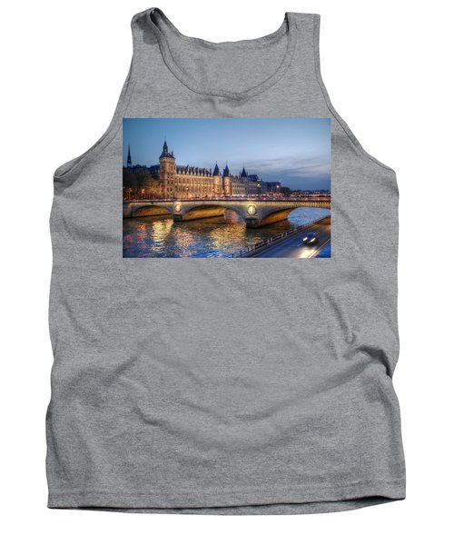 Tank Top featuring the photograph Conciergerie And Pont Napoleon At Twilight by Jennifer Ancker