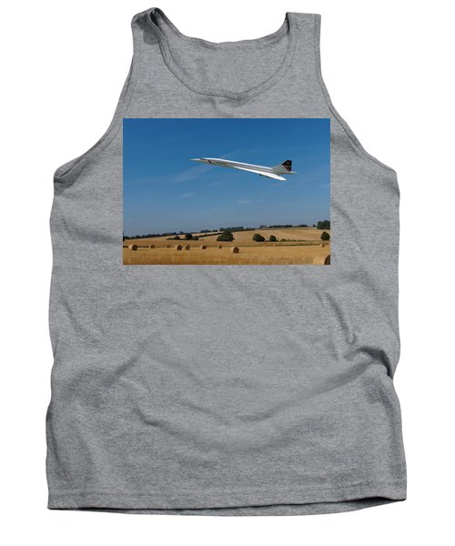 Tank Top featuring the digital art Concorde At Harvest Time by Paul Gulliver