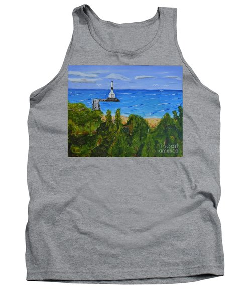 Summer, Conneaut Ohio Lighthouse Tank Top by Melvin Turner