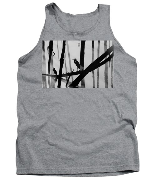 Cormorant And The Heron  Bw Tank Top by Roger Becker
