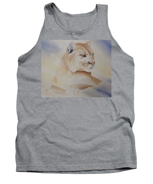 Cougar On Watch Tank Top by Richard Faulkner