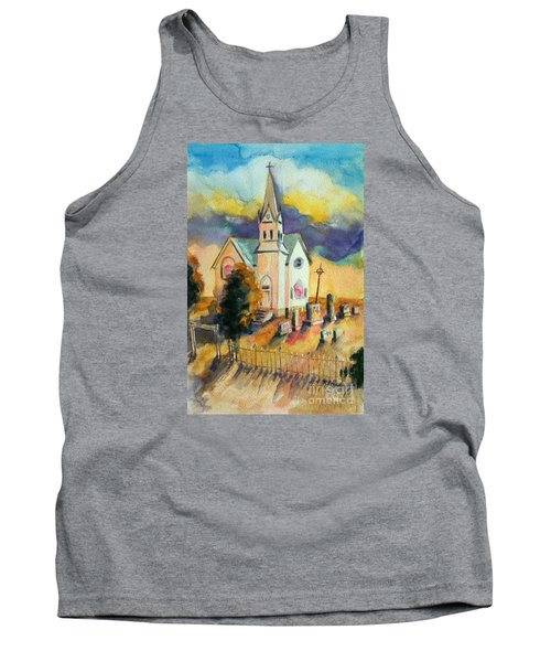 Tank Top featuring the painting Country Church At Sunset by Kathy Braud