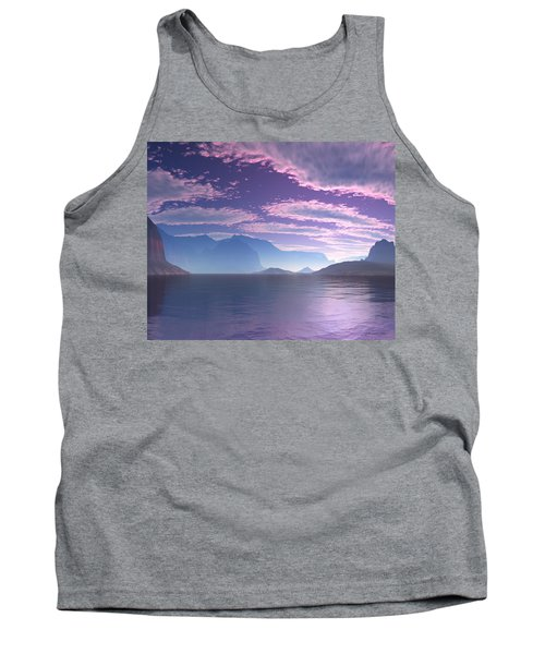 Tank Top featuring the digital art Crescent Bay Alien Landscape by Judi Suni Hall
