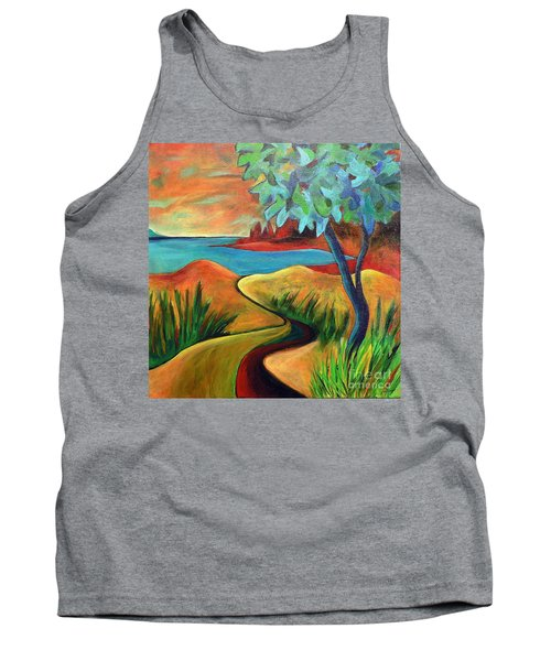 Tank Top featuring the painting Crimson Shore by Elizabeth Fontaine-Barr