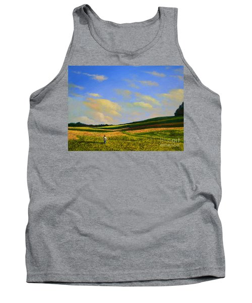 Tank Top featuring the painting Crossing The Field by Christopher Shellhammer