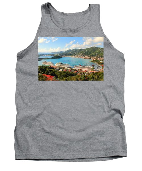 Cruise Ships In St. Thomas Usvi Tank Top