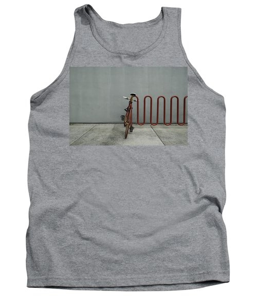 Tank Top featuring the photograph Curved Rack In Red - Urban Parking Stalls by Steven Milner