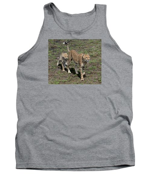 Tank Top featuring the photograph Cute Cheetah Wait For Me Mommy by Tom Wurl