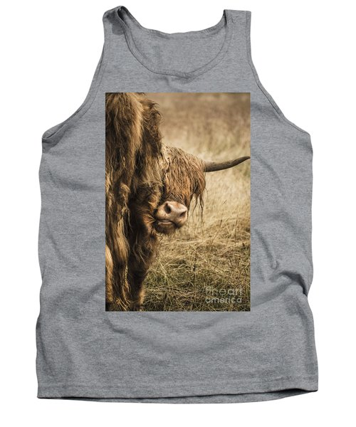 Highland Cow Damn Fleas Tank Top by Linsey Williams
