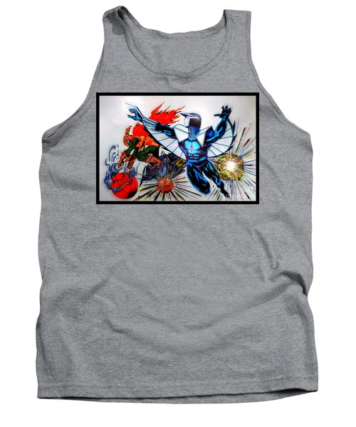 Tank Top featuring the drawing Darkhawk Vs Hobgoblin Focused by Justin Moore