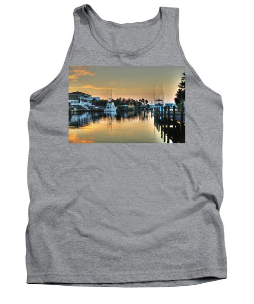 Dawn On A Orange Beach Canal Tank Top