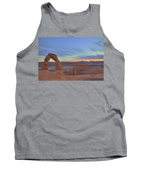 Tank Top featuring the photograph Delicate Arch At Sunset by Alan Vance Ley