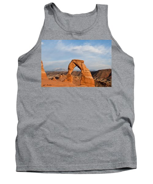 Tank Top featuring the photograph Delicate Arch At Sunset by Jeff Goulden