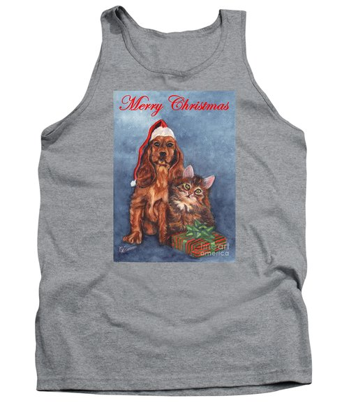 Tank Top featuring the painting Dog And Cat Merry Christmas   by Carol Wisniewski