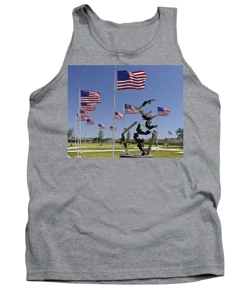 Tank Top featuring the photograph Doves And Flags by Allen Sheffield