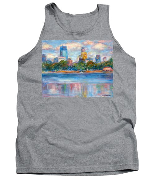 Downtown Minneapolis Skyline From Lake Calhoun II - Or Commission Your City Painting Tank Top by Quin Sweetman
