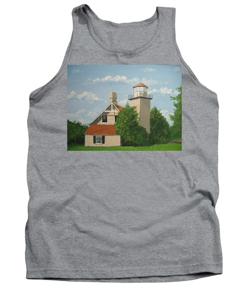 Tank Top featuring the painting Eagle Bluff Lighthouse Wisconsin by Norm Starks