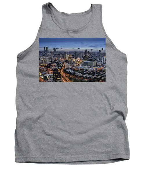 Tank Top featuring the photograph Evening City Lights by Ron Shoshani