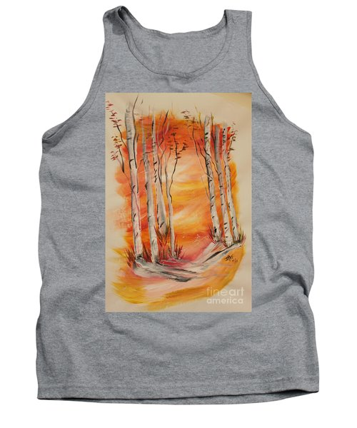 Tank Top featuring the painting Fall Aspen On Paper by Janice Rae Pariza